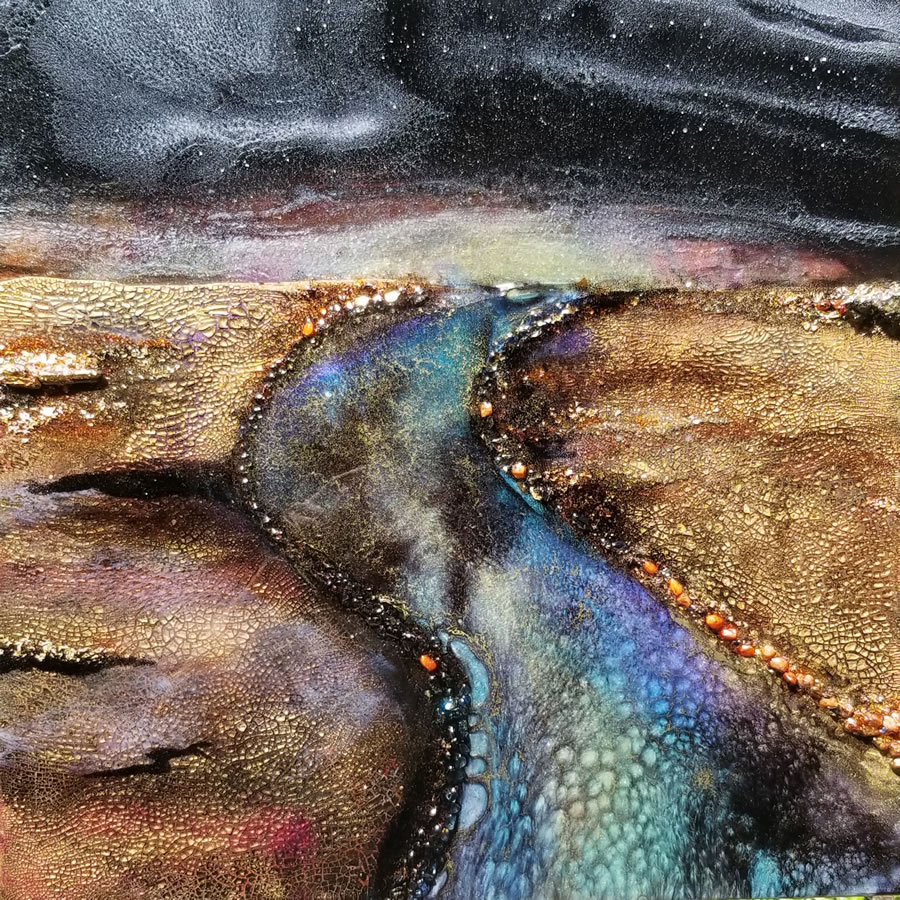 HOLLY BROMLEY  Midnight Stroll Original Resin and mixed media 20 X 20