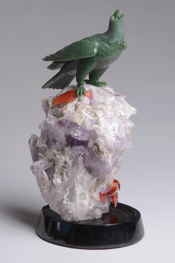 LYLE SOPEL  Eagle -Lucky Catch Original Jade Amethyst Carnelian 17 X 18.5