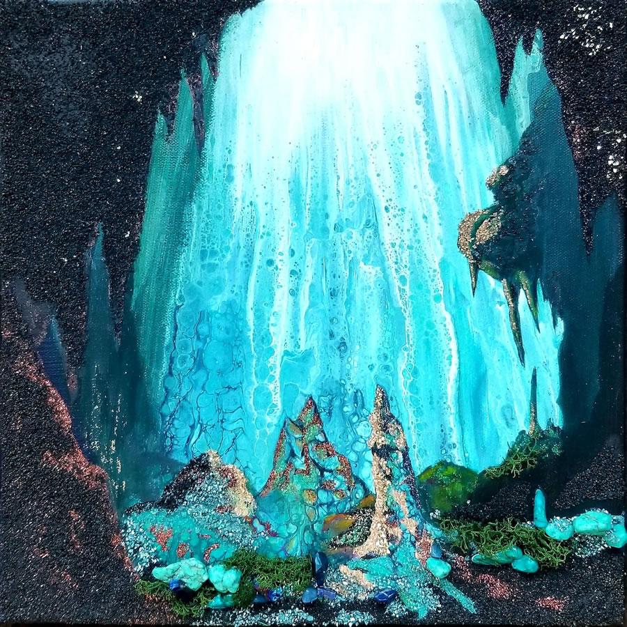 HOLLY BROMLEY  Serenity Original Acrylic Mixed Media Resin 12 X12