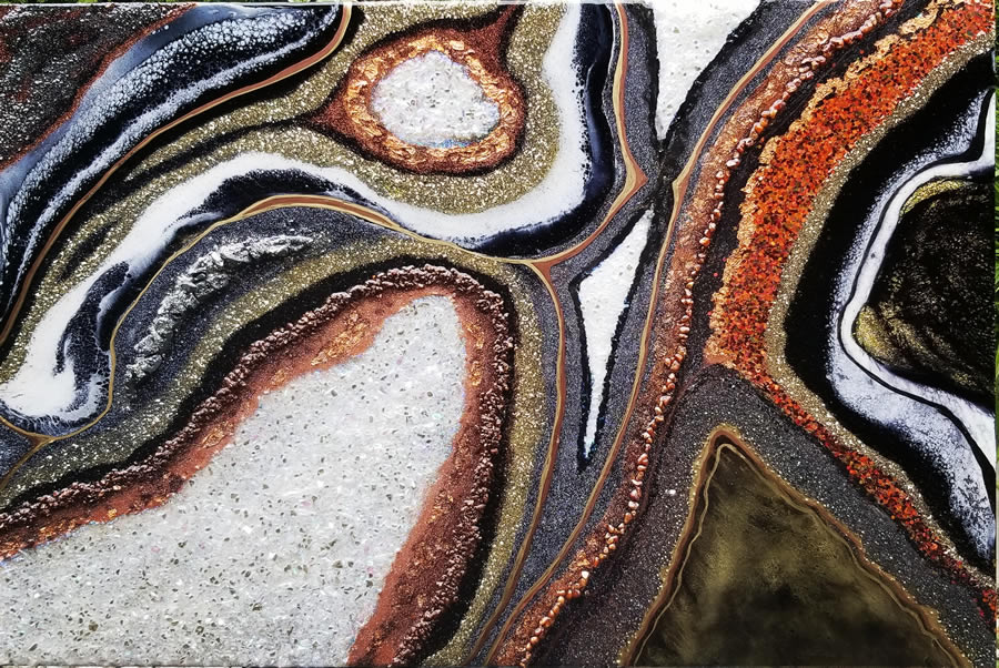 HOLLY BROMLEY  Arkenstone Original Mixed Media and Resin  36 x 24