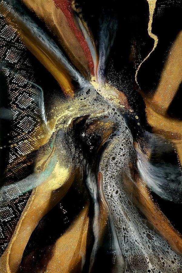 HOLLY BROMLEY  Dragon Eye -  SOLD  Original Acrylic Mixed Media Resin. 40 X 60
