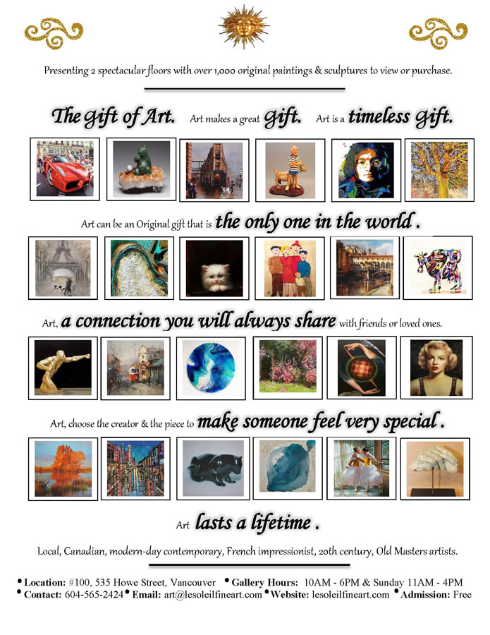 Give the gift of Art this holiday season from LeSoleil Fine Art, Vancouver.