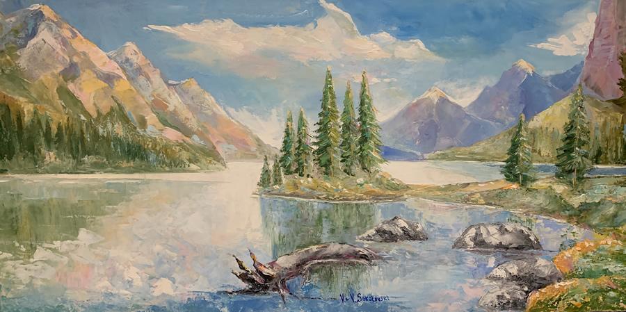 VALERI SOKOLOVSKI  Rocky Mountains Original Oil 24 X 48