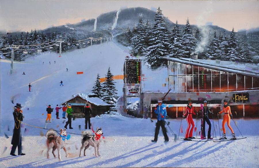 KAMIAR GAJOUM Ski Resort Whistler Original Oil 40 X 26