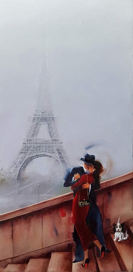 KAMIAR GAJOUM  French Kiss Original Oil 10 X 20