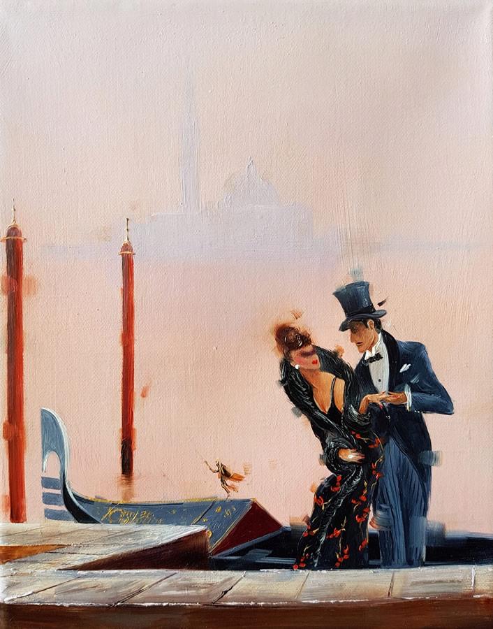 KAMIAR GAJOUM  An Evening In Venice Original Oil 8 X 10