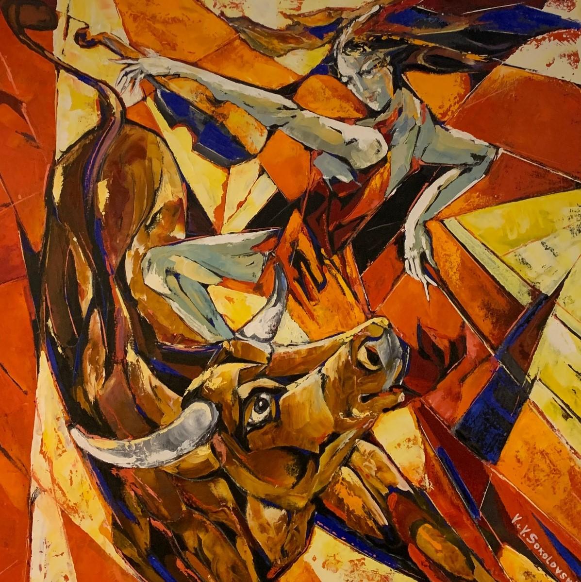 VALERI SOKOLOVSKI  Dance with Me Original Oil 36 X 36