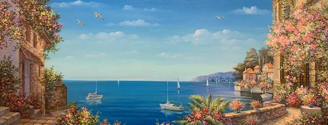MYKOLA YUROV  Sailing Lake Como III Original Oil 24.5 X 60