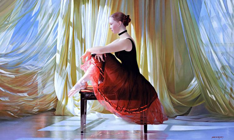 ALEXANDER SHEVERSKY  Ballerina Original Oil 36 X 60