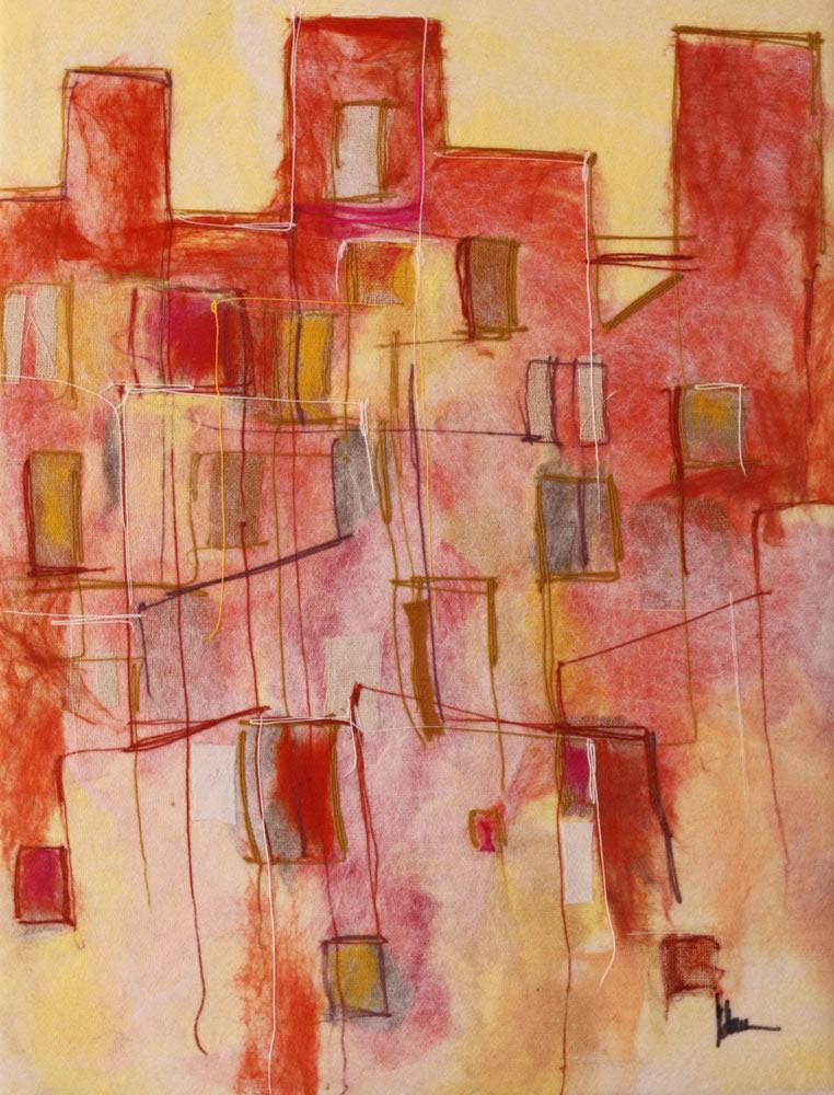 "JOHANAN HERSON   Jerusalem Original Acrylic Fiber   Soft Art 49"" H x 38"" W"