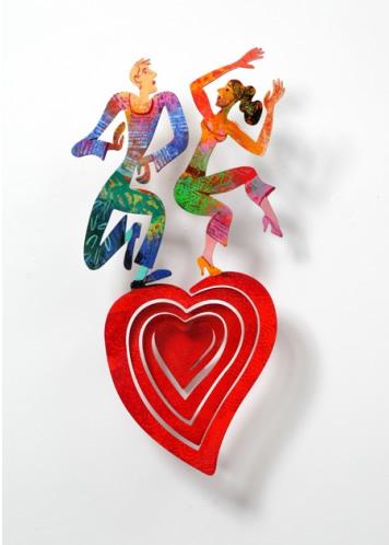 DAVID GERSTEIN  Dancing Heart Wall Sculpture 12 X 24