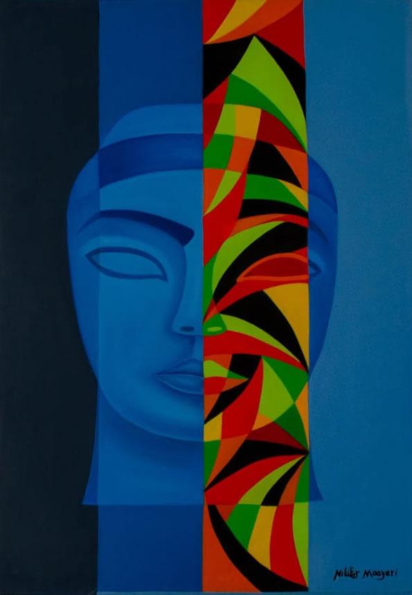 NILUFAR MOAYERI  Blue Goddess Original Oil 39.5 x 27.5