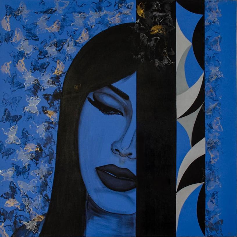 NILUFAR MOAYERI  Blue Widow Original Oil 47 x 47