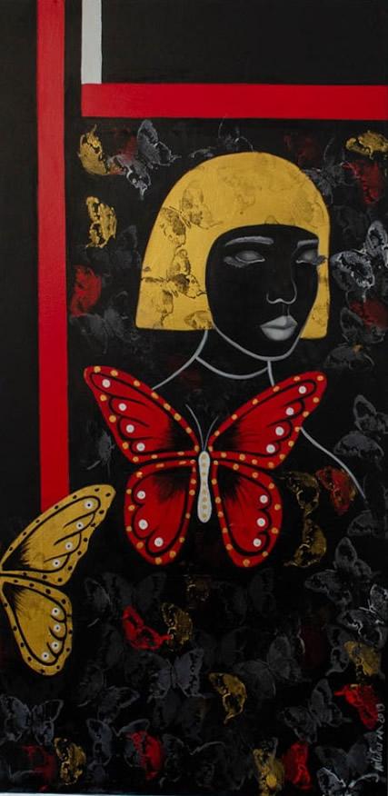 NILUFAR MOAYERI  Butterfly Woman Original Oil 48 X 24