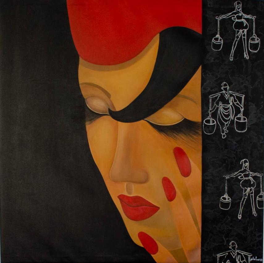 NILUFAR MOAYERI  Dream of Another Time Original Oil 44 x 44