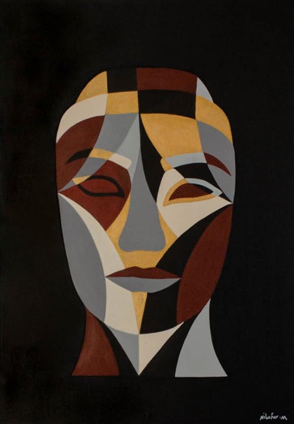 NILUFAR MOAYERI  Faces Brown Original Oil 39.5 x 27.5