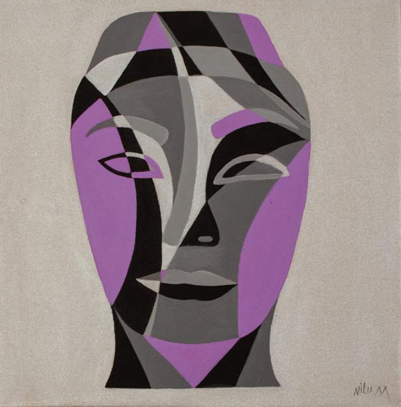 NILUFAR MOAYERI  Faces Purple (small) Original Oil 15 x 15