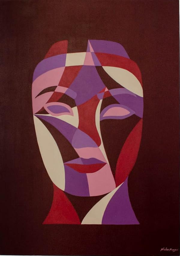 NILUFAR MOAYERI  Faces Purple (large) Original Oil 39.5 x 27.5