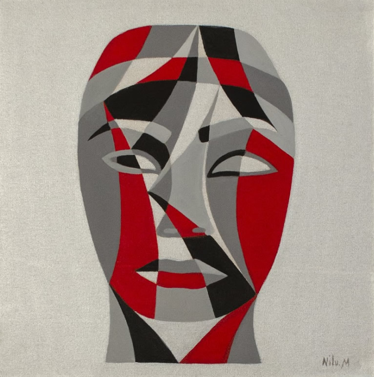 NILUFAR MOAYERI  Faces Red Original Oil 15 x 15
