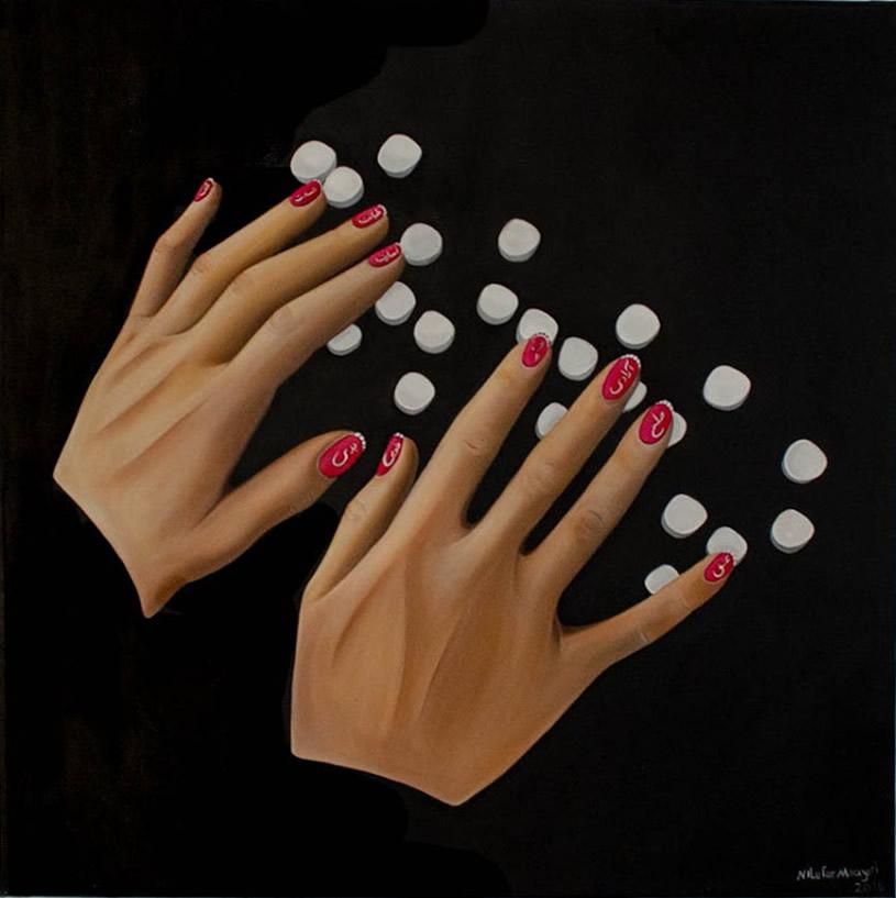 NILUFAR MOAYERI  Hands Original Oil 47 x 47