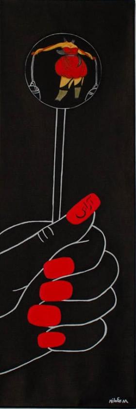 NILUFAR MOAYERI  Lollipop Freedom Original Oil 47.5 x 16.jpg