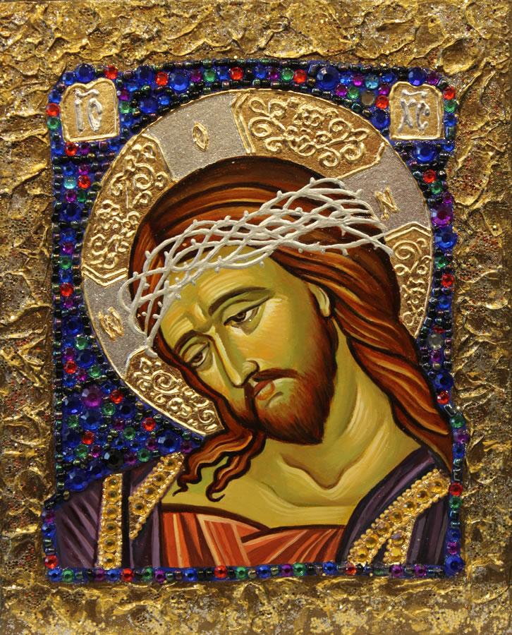 MYKOLA YUROV  Jesus Original Icon - Oil Gold Leaf 10 X 8
