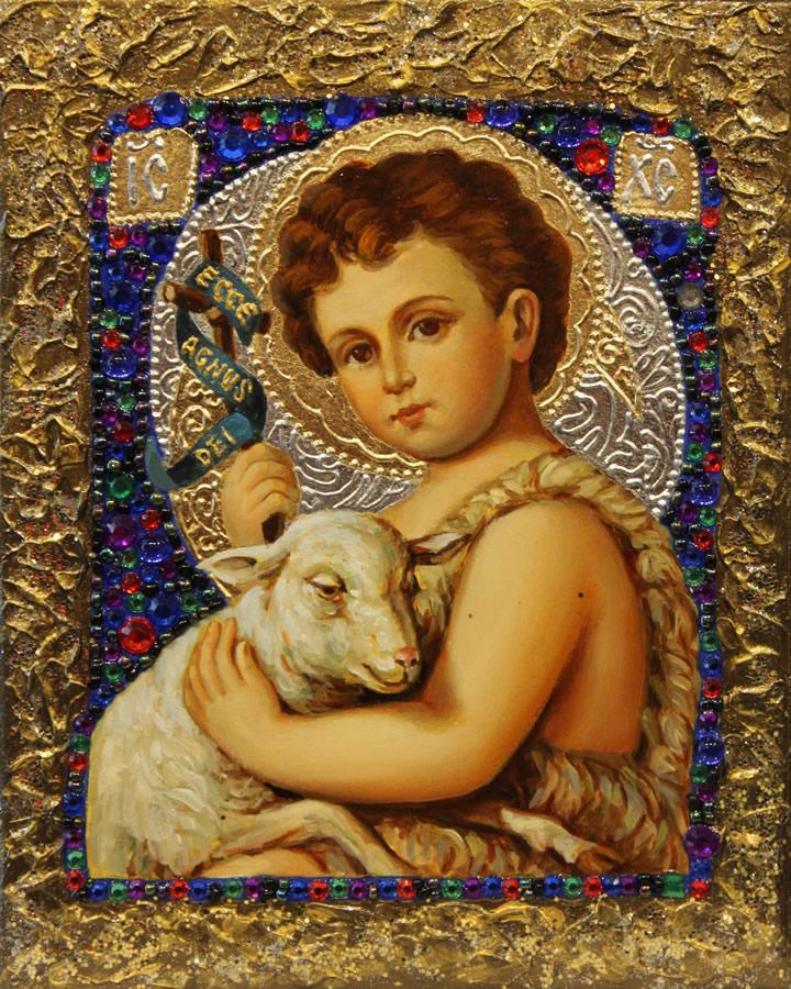 MYKOLA YUROV  Lamb of God Original Icon - Oil Gold Leaf 10 X 8