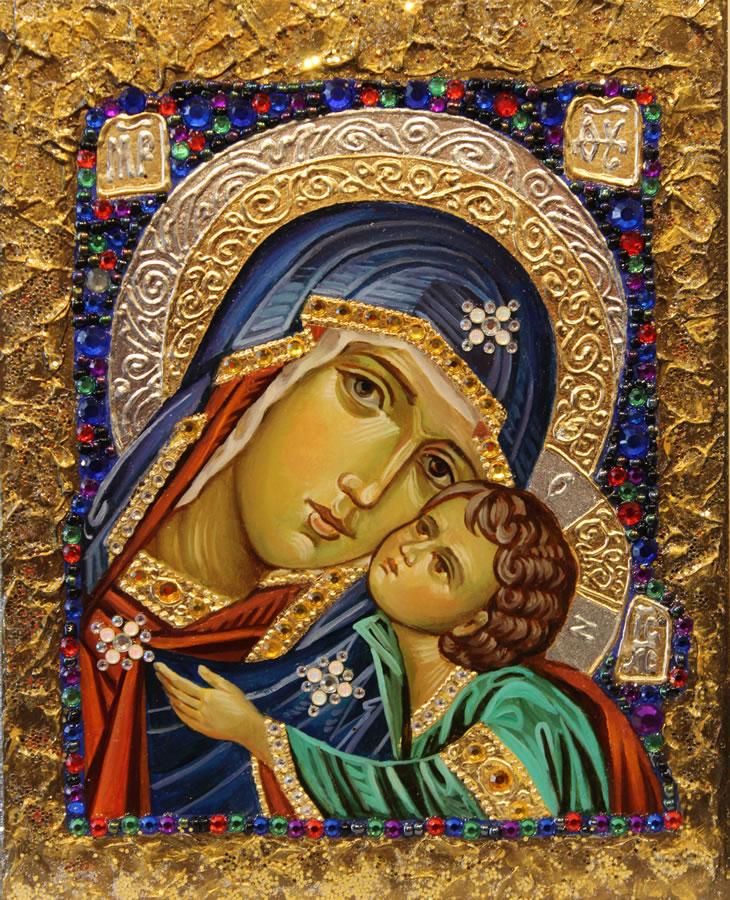 MYKOLA YUROV   Madonna with Child Original Icon - Oil Gold Leaf 10 X 8