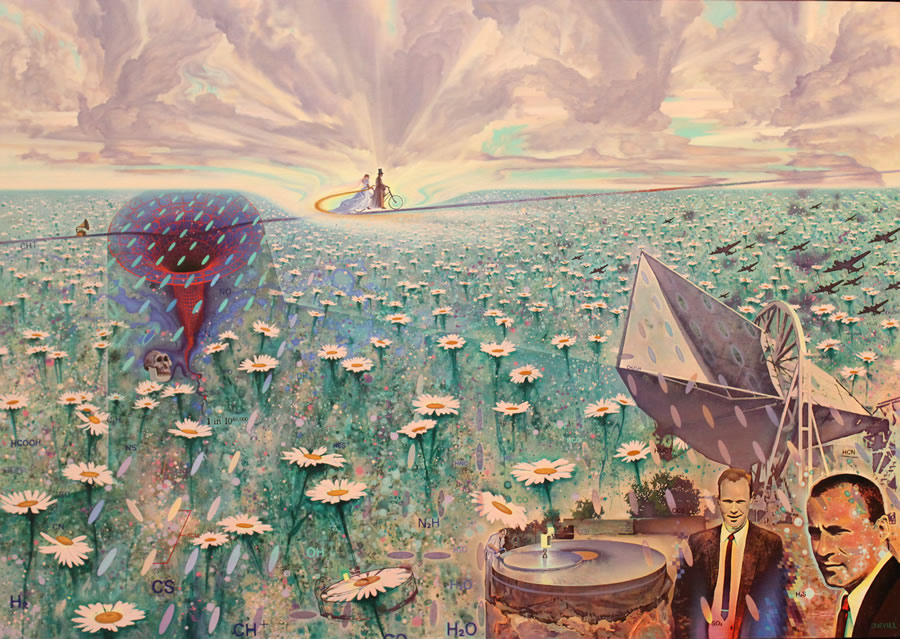 JOHN REVILL  Field of Daisies and the Discovery of Fossil Radiation Original Oil over Acrylic 37 X 51