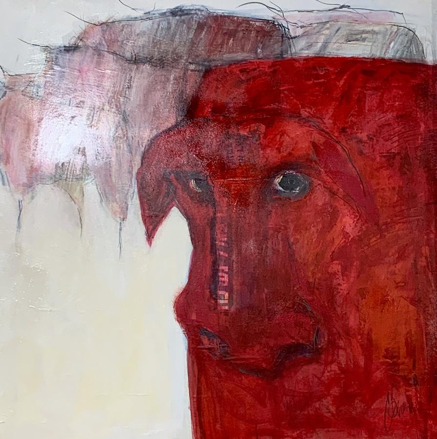 JOHANAN HERSON  Red Heiffer Original Oil 33 X 33