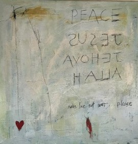 JOHANAN HERSON  Make Love Not War Original Oil 33 X 33