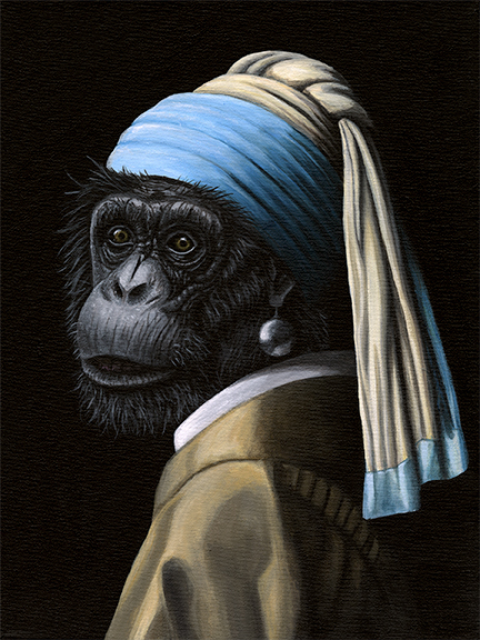 JOSH HARNACK  Chimp with a Pearl Earring Original Acrylic 12 x 16