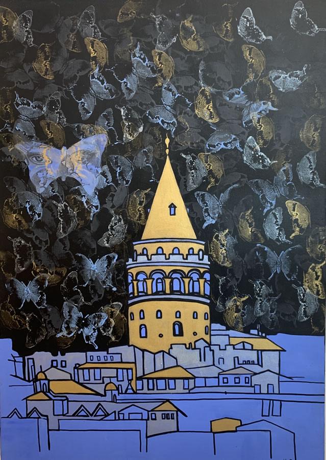 NILUFAR MOAYERI  Eyes of the City Original Oil 27 X 39