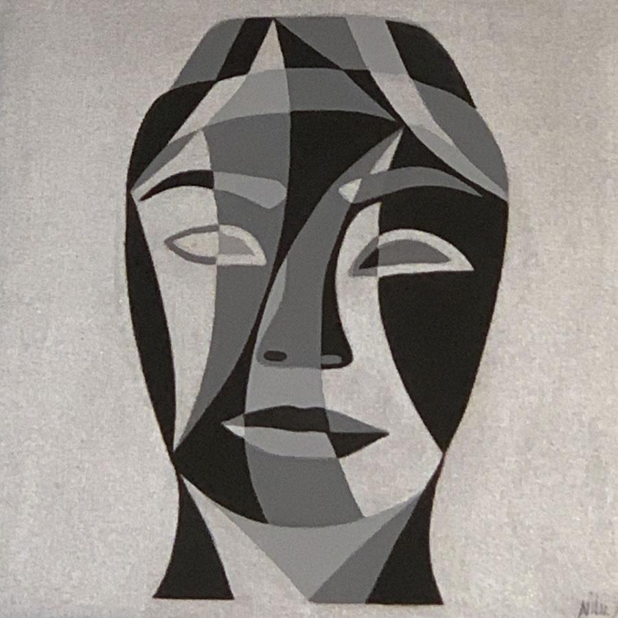 NILUFAR MOAYERI  Faces Black Original Acrylic 15 X 15