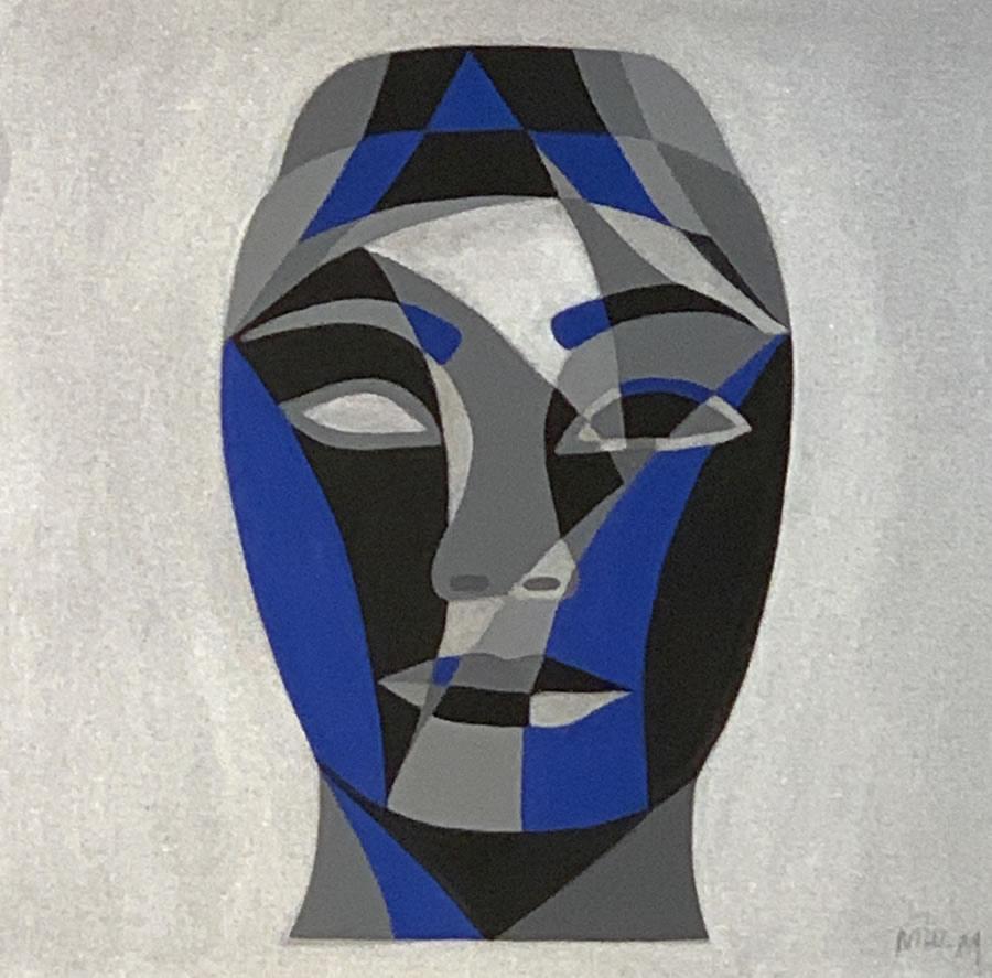 NILUFAR MOAYERI  Faces Blue Original Acrylic 15 X 15