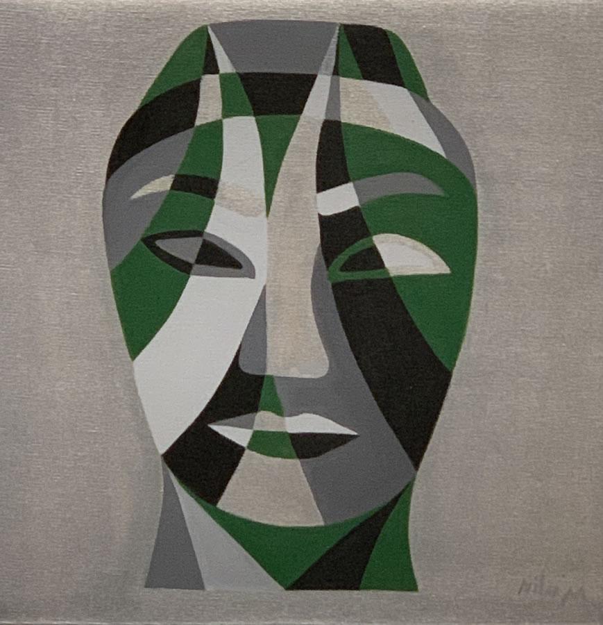 NILUFAR MOAYERI  Faces Green Original Acrylic 15 X 15