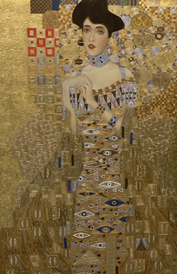 "Mykola Yurov  The Lady in Gold ""Adele Bloch-Bauer II Original Rendering. Oil Gold Leaf 31.5 X 47"
