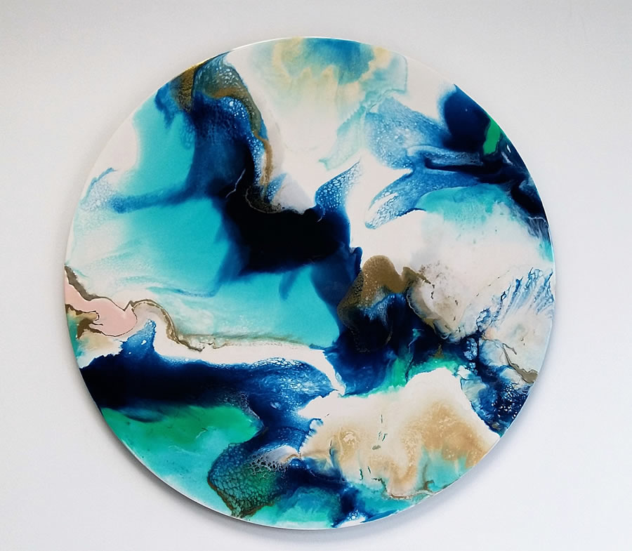 ANNA SHEVERSKY  Above the Blues Original Mixed Media 30 Inches