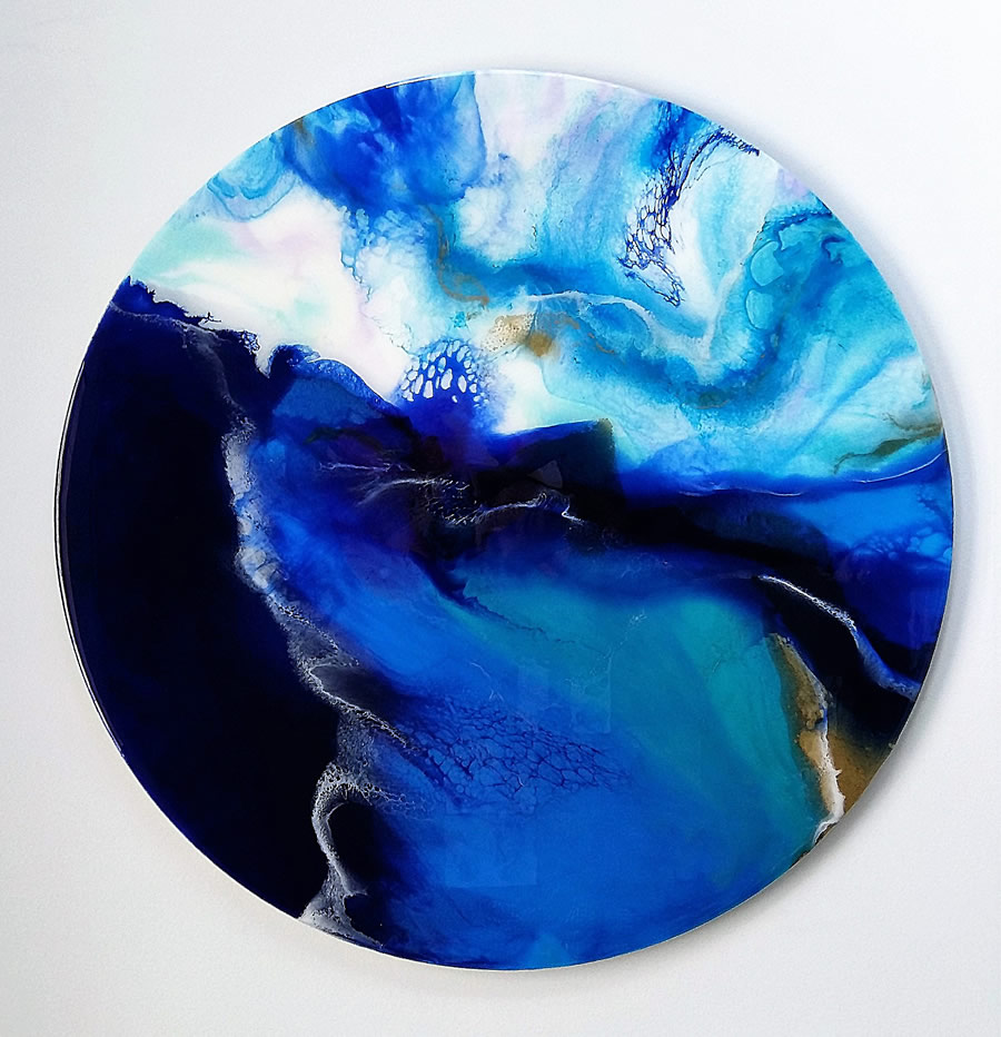 ANNA SHEVERSKY Blue Current Original Mixed Media 30 Inches