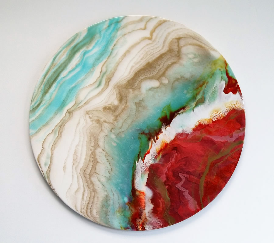 ANNA SHEVERSKY  Rouge Planet Original Mixed Media 30 Inches