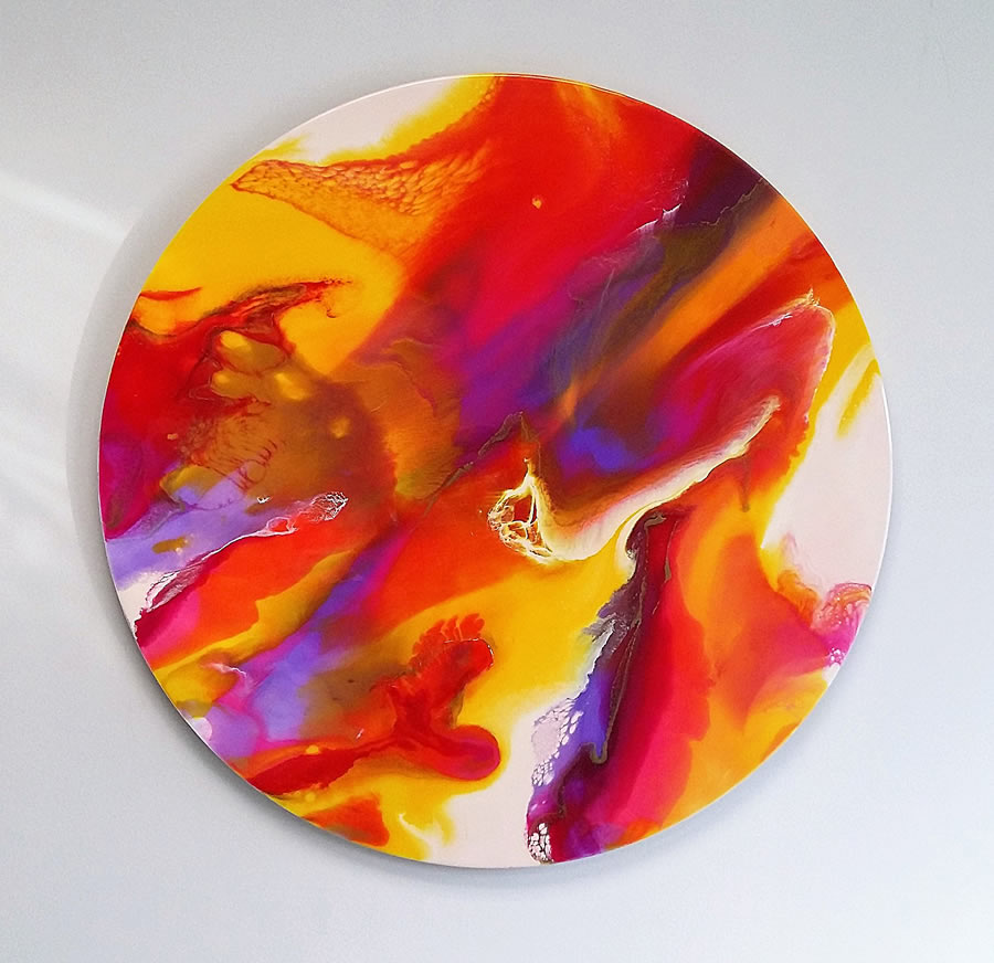 ANNA SHEVERSKY  Mimosa Sunset Original Mixed Media 30 Inches