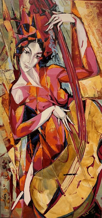 VALERI SOKOLOVSKI  Cello in Purple Original Oil 36 X 18