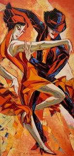 VALERI SOKOLOVSKI  Rhythm I Original Oil 36 X 18
