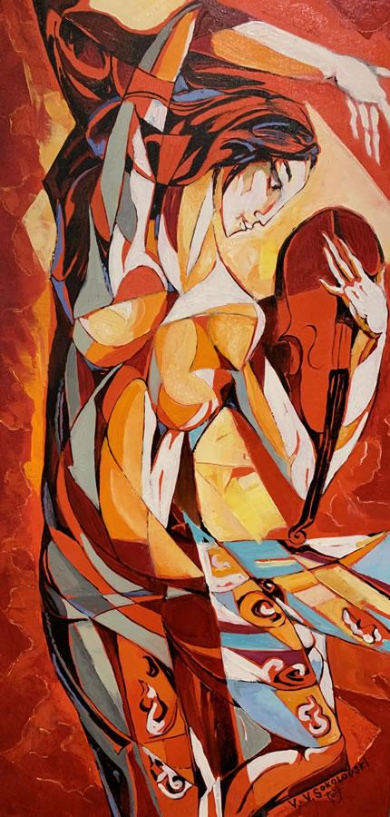 VALERI SOKOLOVSKI  Violinist in Red Original Oil 36 X 18
