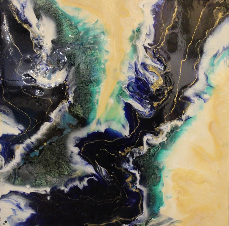 ANNA SHEVERSKY  Fraser River IIII Original Mixed Media 30 X 30