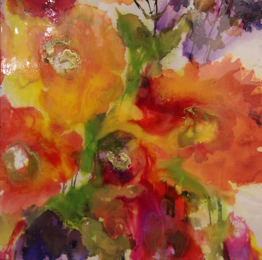 ANNA SHEVERSKY  Cosmos and Marigolds Original Mixed Media 24.5 X 24.5