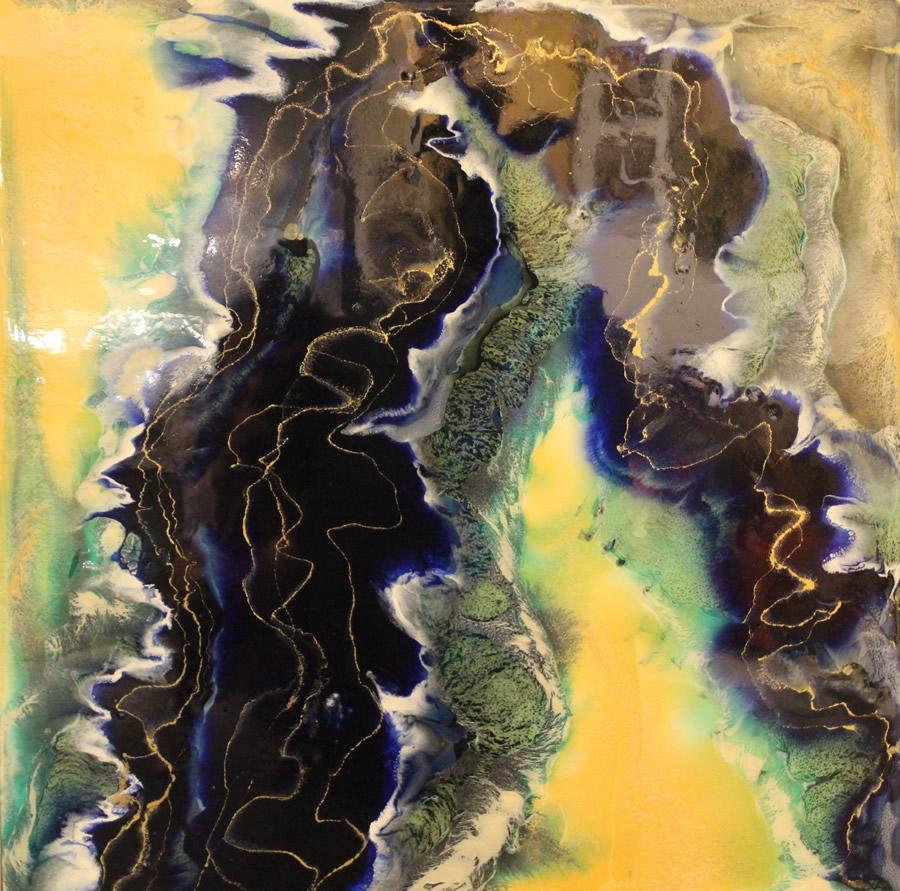 ANNA SHEVERSKY  Fraser River II Original Mixed Media 30 X 30