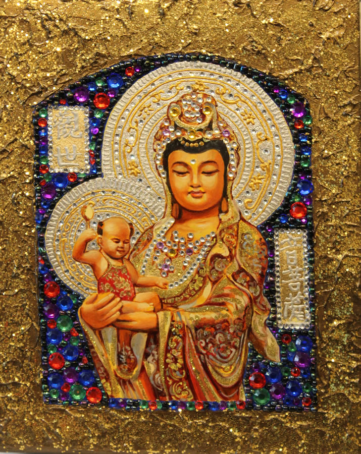 MYKOLA YUROV  Guanyin I Original Icon Oil Gold Leaf 10 X 8