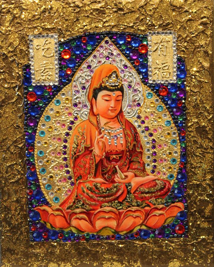 MYKOLA YUROV  Guanyin II Original Icon Oil Gold Leaf 10 X 8
