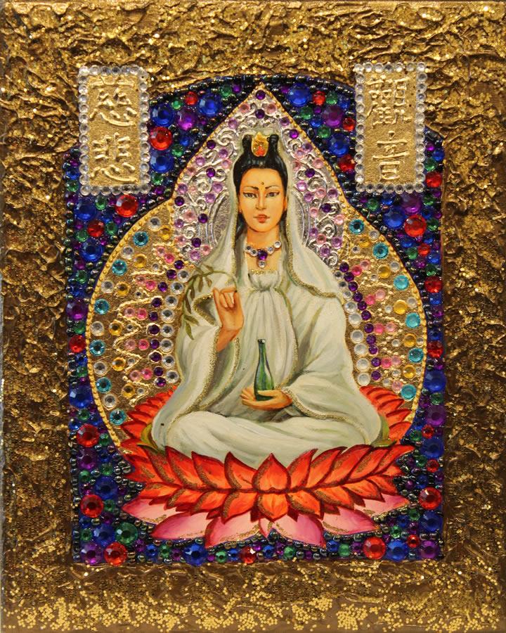 MYKOLA YUROV  Guanyin III Original Icon Oil Gold Leaf 10 X 8